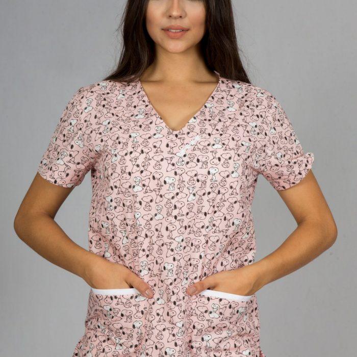78ae76282 Pijama hospitalar feminino snoopy rosa - o conjuntinho
