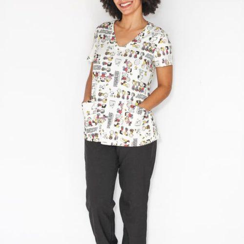 Pijama Cirúrgico Snoopy branco