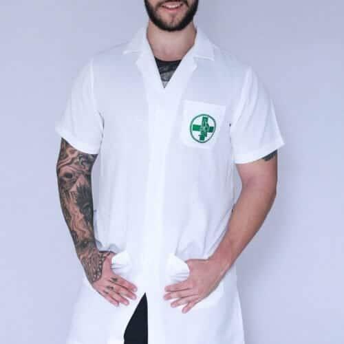 Jaleco Biomedicina masculino manga curta