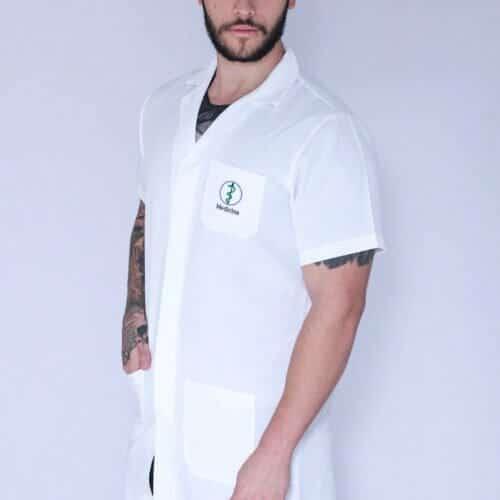 Jaleco Medicina Masculino Manga Curta FAIKO Jalecos (1)