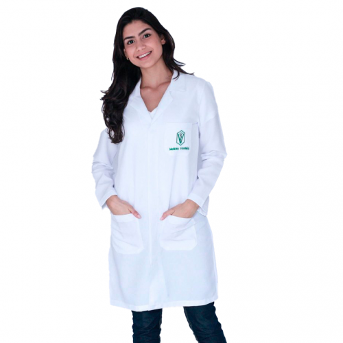 Jaleco Feminino Medicina Veterinária Manga Longa