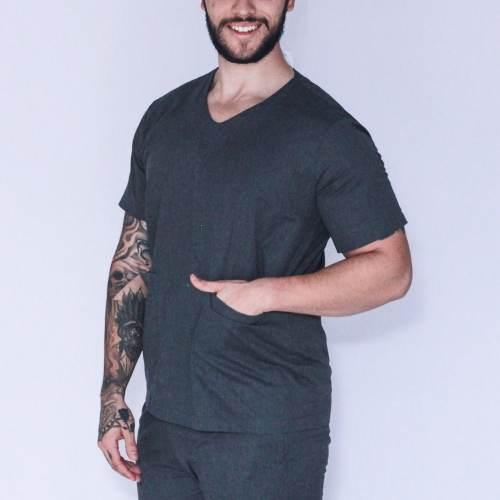 Pijama Cirúrgico Masculino Personalizado Cinza FAIKO Jalecos (1)