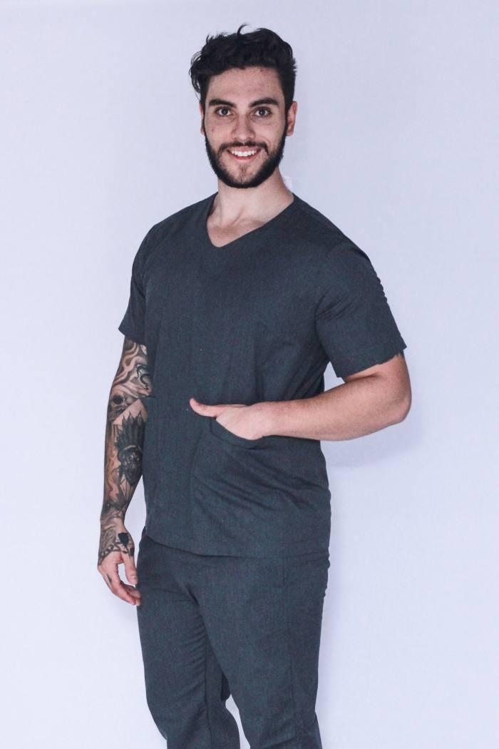 Pijama Cirúrgico Masculino Personalizado Cinza FAIKO Jalecos 1