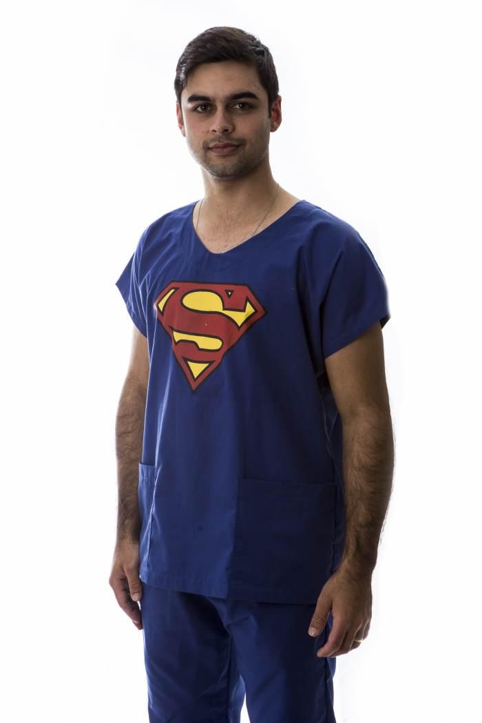 Pijama Cirúrgico Masculino Estampado SUperman FAIKO Jalecos