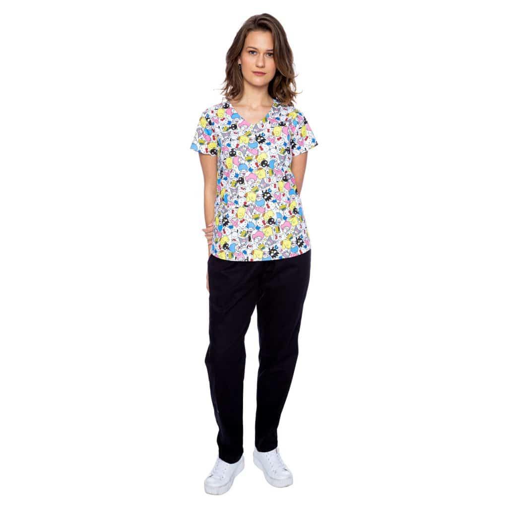 beabf23e2 Pijama Hospitalar Feminino estampado Hello Kitty 3 - Faíko jalecos