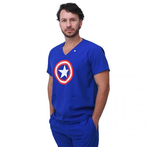 Pijama Cirúrgico Masculino Capitão América