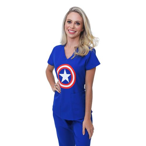 Pijama Cirúrgico Capitão América Feminino