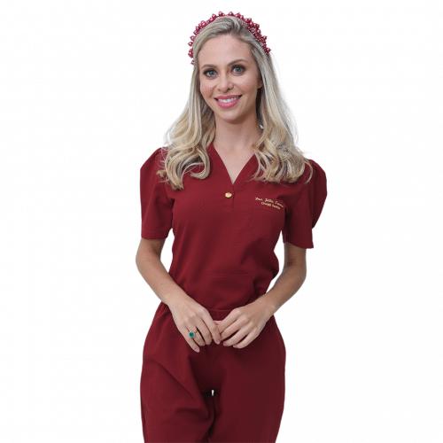 Pijama Cirúrgico Feminino Mel Marsala