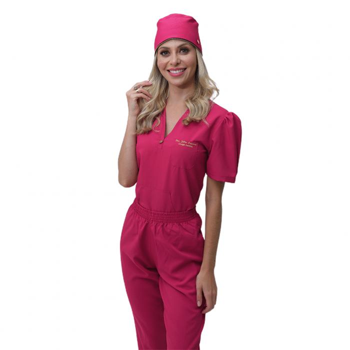 Pijama Cirúrgico Feminino Mel Rosa