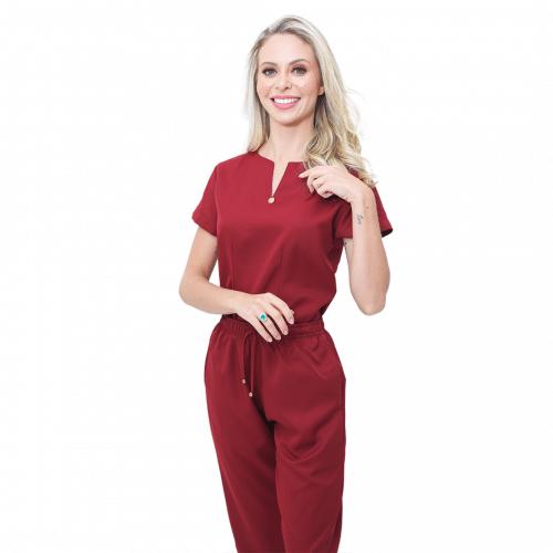 Pijama Cirúrgico Feminino Queen Marsala