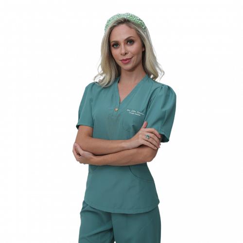 Pijama Cirúrgico Feminino Mel Verde Claro